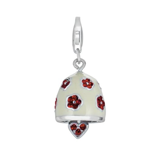 Sterling Silver Crystal Heart and Flower Bell Charm