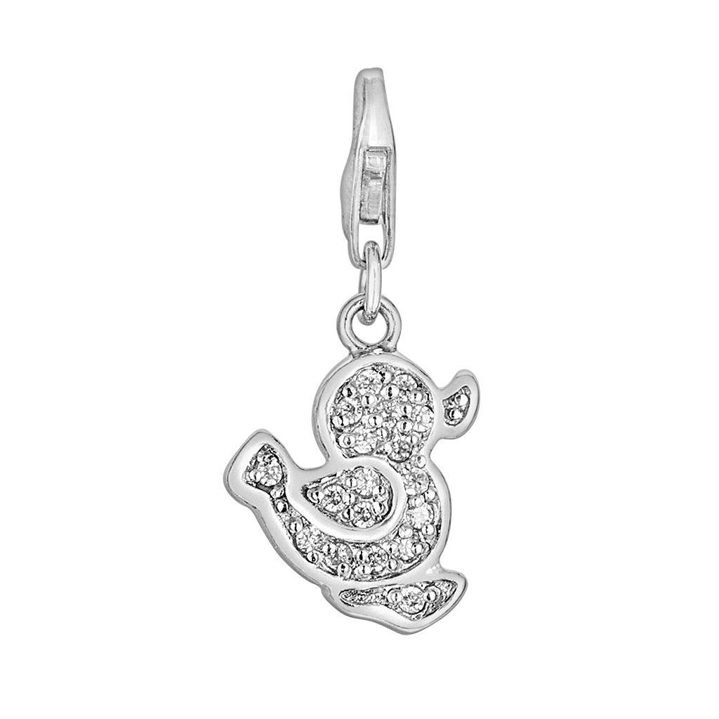 Sterling Silver White Topaz Duck Charm