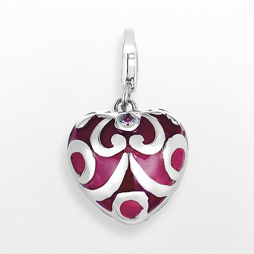 Sterling Silver White Topaz Scroll Heart Charm