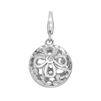 Sterling Silver White Topaz Openwork Flower Charm