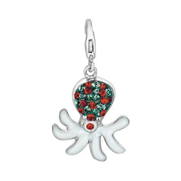 Sterling Silver Crystal Octopus Charm