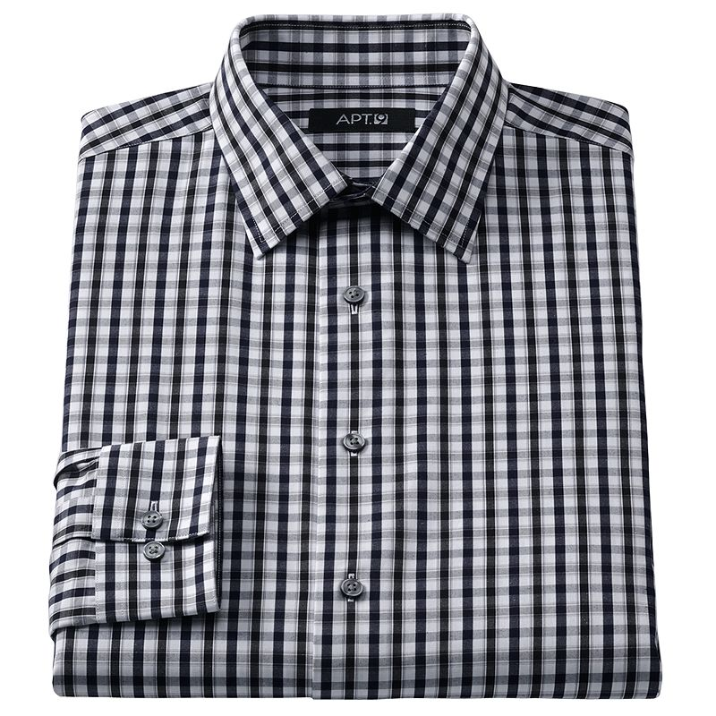 Check fitted shirt kohl 39 s for Tony collar dress shirt