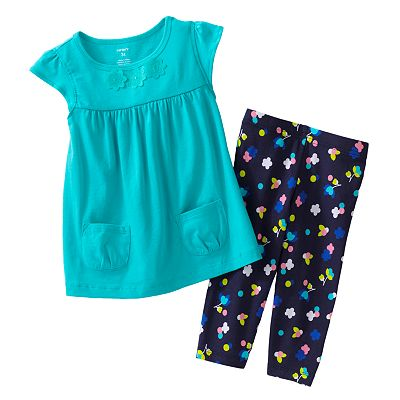 Carter's Solid Tunic and Floral Capri Leggings Set - Toddler