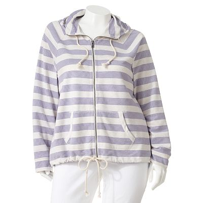 SONOMA life + style Striped French Terry Hoodie - Women's Plus