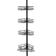 Zenna Home 4-Tier Satin Nickel Finish Tension Corner Pole Caddy
