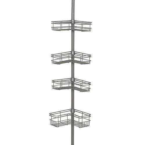 Zenna Home 4-Tier Satin Nickel Finish Tension Corner Pole Caddy