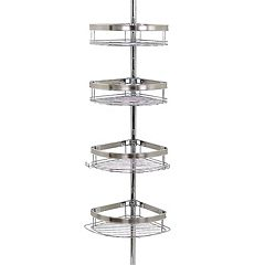 Zenna Home 4-Tier Brushed Nickel Finish Pole Shower Organizer