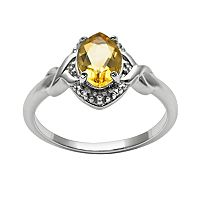 Sterling Silver Citrine & Diamond Accent Marquise Halo Ring