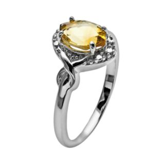 Sterling Silver Citrine and Diamond Accent Marquise Halo Ring