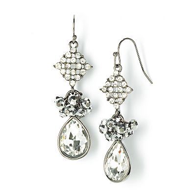 Simply Vera Vera Wang Jet Simulated Crystal and Bead Drop Earrings