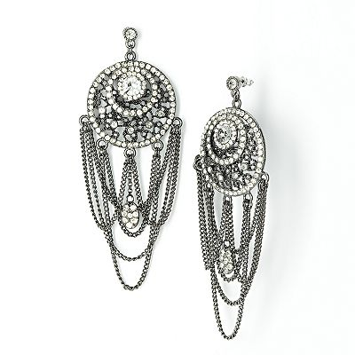 Simply Vera Vera Wang Jet Simulated Crystal Swag Earrings