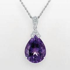 14k White Gold Amethyst & Diamond Accent Pendant