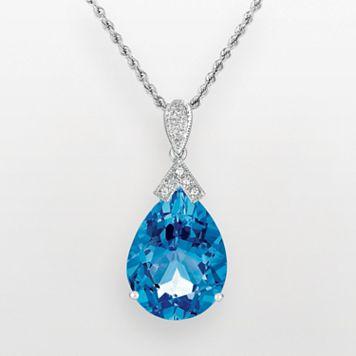 14k White Gold Blue Topaz & Diamond Accent Pendant