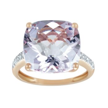 14k Rose Gold Pink Amethyst and Diamond Accent Ring