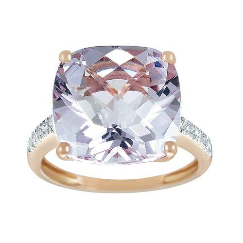 14k Rose Gold Pink Amethyst Amp Diamond Accent Ring