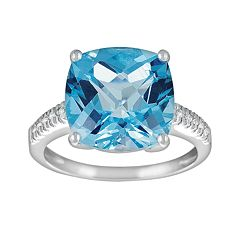 14k White Gold Blue Topaz & Diamond Accent Ring