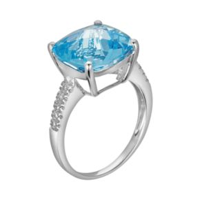 14k White Gold Blue Topaz and Diamond Accent Ring