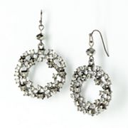 Simply Vera Vera Wang Jet Bead and Simulated Crystal Hoop Drop Earrings