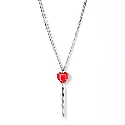 Simply Vera Vera Wang Jet Simulated Crystal Heart Fringe Pendant