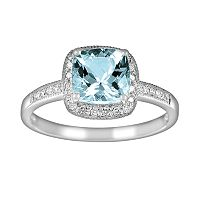 14k White Gold 1/10 ctT.W. Diamond & Aquamarine Frame Ring
