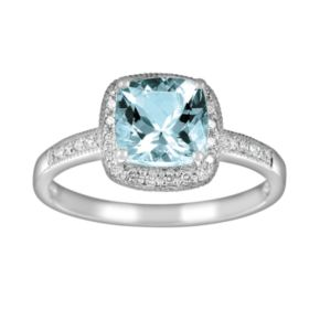 14k White Gold 1/10-ct. T.W. Diamond and Aquamarine Frame Ring