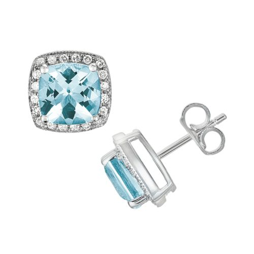 14k White Gold 1/7-ct. T.W. Diamond and Aquamarine Frame Stud Earrings
