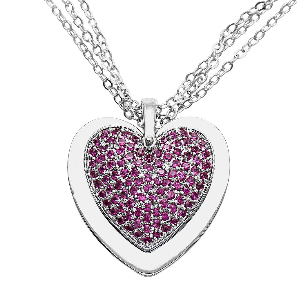 Sterling Silver 1-ct. T.W. Diamond & Lab-Created Ruby Reversible Heart Pendant