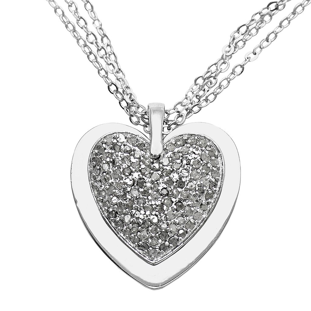 Sterling Silver 1-ct. T.W. Diamond and Lab-Created Ruby Reversible Heart Pendant