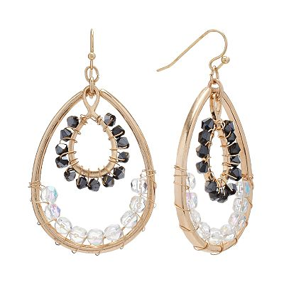 Apt. 9 Gold Tone Bead Teardrop Earrings