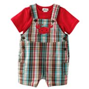 First Moments Little Crawler Plaid Shortalls and Bodysuit Set - Baby