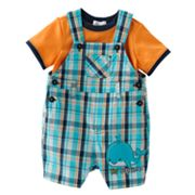 First Moments Lil Squirt Plaid Shortalls and Bodysuit Set - Baby