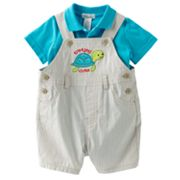 First Moments Turtley Cute Shortalls and Polo Bodysuit Set - Baby
