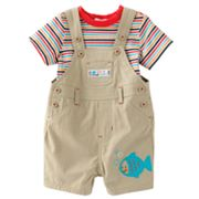 First Moments Great Catch Shortalls and Striped Bodysuit Set - Baby