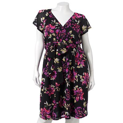 ELLE Floral Surplice Mesh Dress - Women's Plus