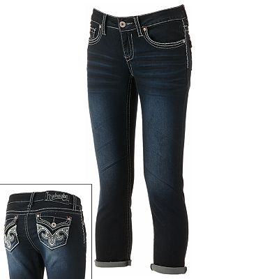 Hydraulic Cuffed Rhinestone Denim Capris - Juniors
