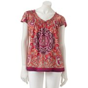 Croft and Barrow Medallion Smocked Sateen Henley