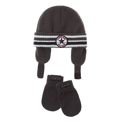 Converse Striped Knit Hat and Mittens Set - Baby