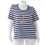 Cathy Daniels Striped Anchor Embellished Tee - Women's Plus