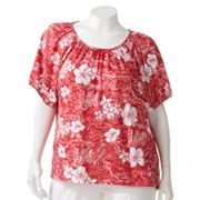 Cathy Daniels Floral Embellished Burnout Top - Women's Plus
