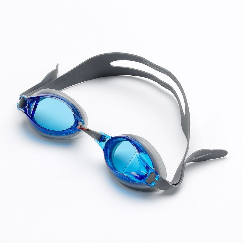 Nike Chrome Swim Goggles, Blue Easy to adjust headstraps. Adjustable nose bridge. PVC-free construction. Details: One size fits most Imported Color: Blue. Gender: Male. Age Group: Adult. Pattern: Solid. Material: Nylon Spandex.
