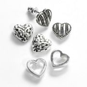 Croft and Barrow Silver Tone Textured Heart Stud Earring Set
