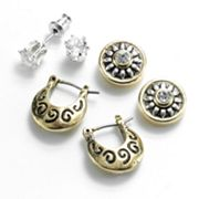 Croft and Barrow Two Tone Cubic Zirconia and Simulated Crystal Button Stud and Hoop Earring Set