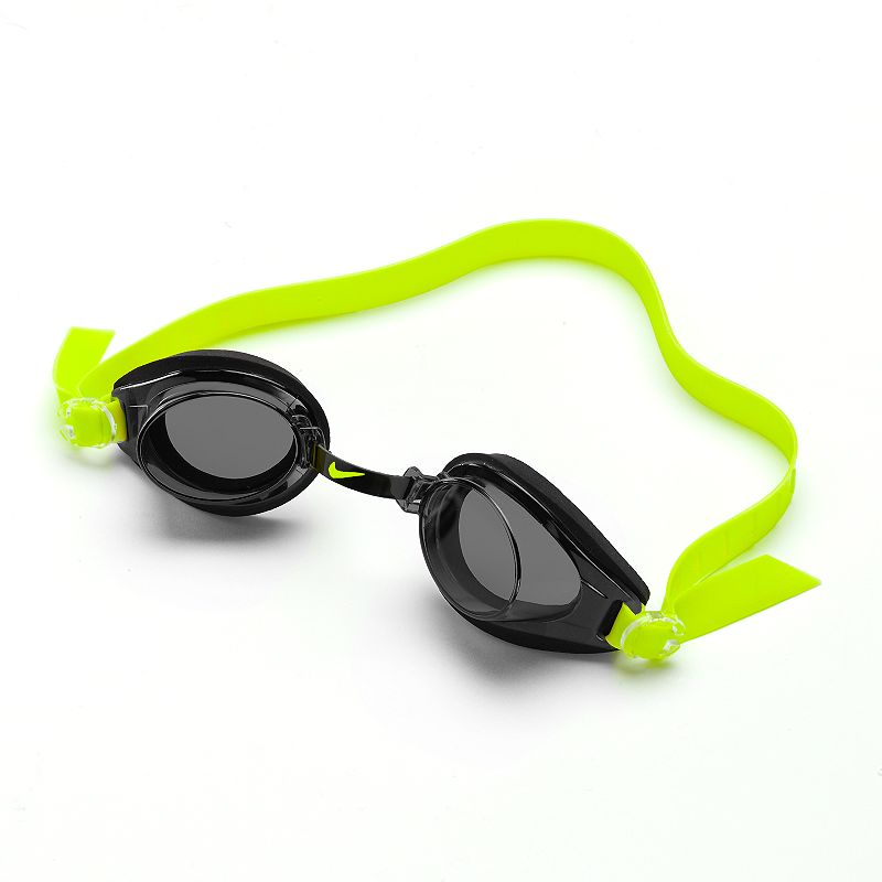 Nike Proto Swim Goggles, Black Adjustable nose bridge and headstrap for universal fit. Anti-fog coating providestrouble-free visiblity. Details: One size fits most Imported Color: Black. Gender: Male. Age Group: Adult. Pattern: Solid. Material: Nylon Spandex.