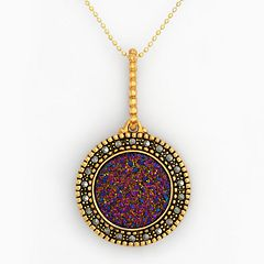 18k Gold Over Silver Drusy & Marcasite Disc Pendant