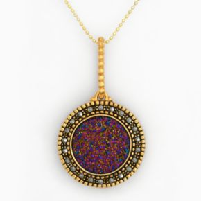 18k Gold Over Silver Drusy and Marcasite Disc Pendant
