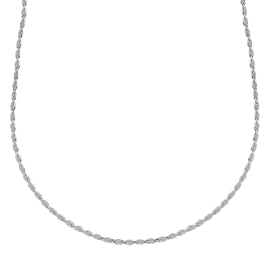 Splendid Silver Silver-Bonded Rope Chain Necklace - 16-in.