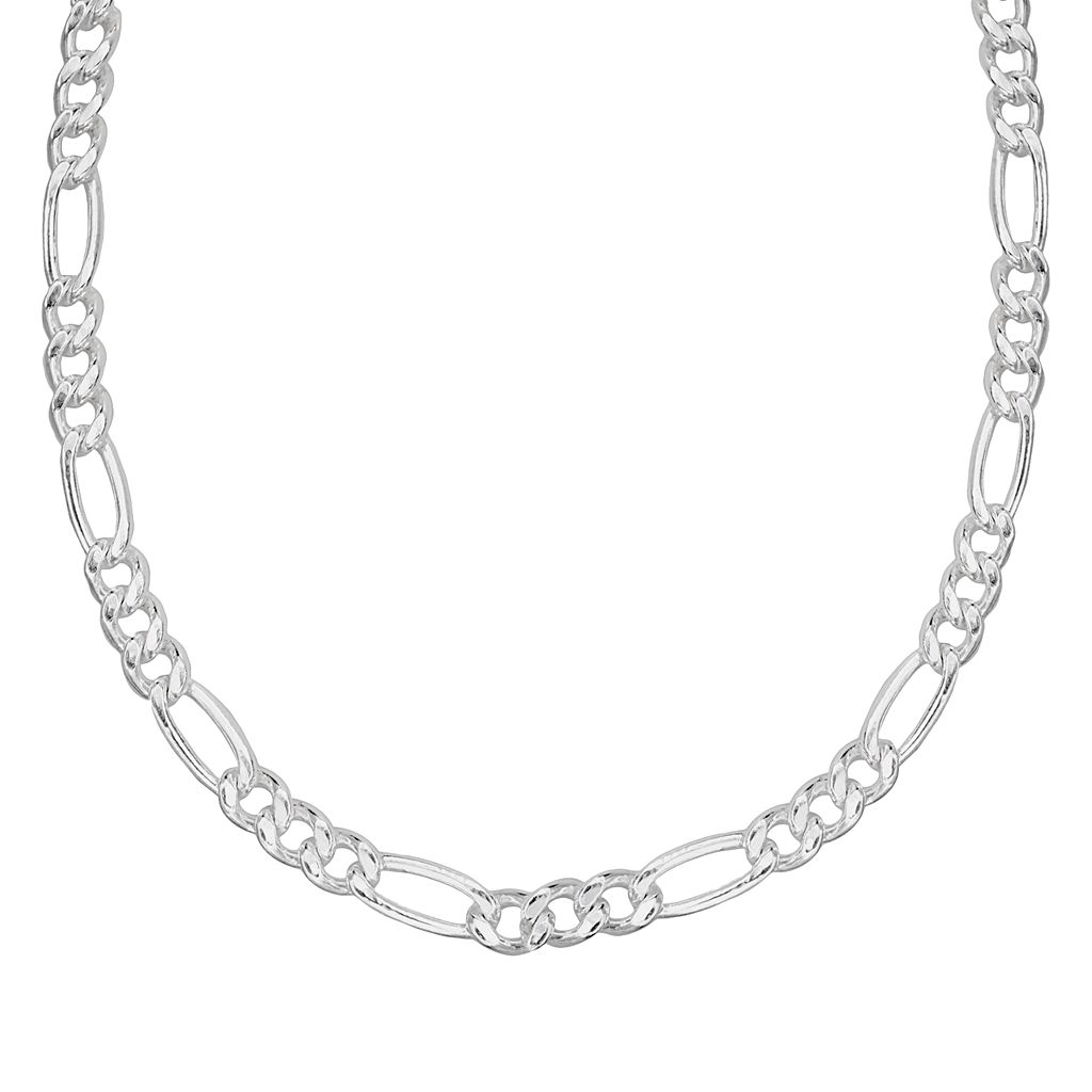 Splendid Silver Silver-Bonded Figaro Chain Necklace