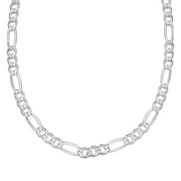 Splendid Silver Silver-Bonded Figaro Chain Necklace