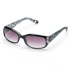 SONOMA life and style Rhinestone Floral Etched Rectangular Sunglasses