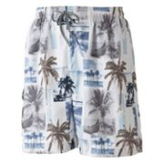 Newport Blue Palm Tree Photo Swim Trunks